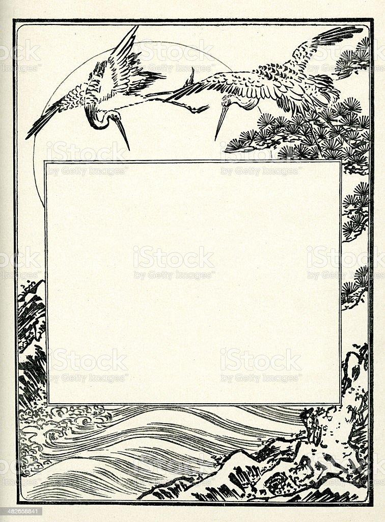 Japanese Art - Crane border royalty-free stock vector art