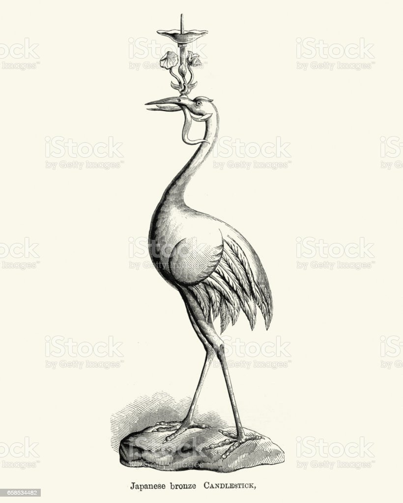 Japanese bronze candlestick in the shape of a crane, 1855 vector art illustration