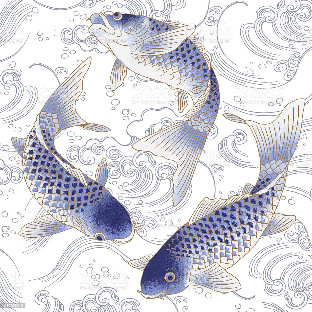 Japanese carp vector art illustration