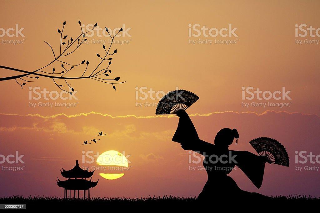 Japanese dance at sunset vector art illustration