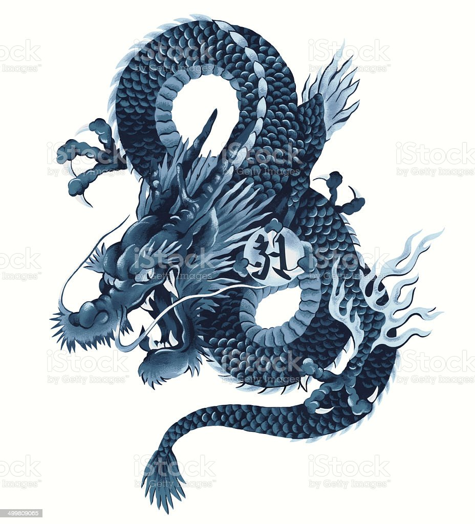 Japanese dragon vector art illustration