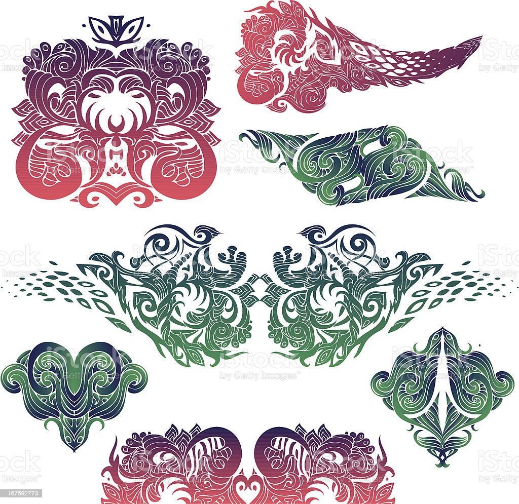 japanese elements vector art illustration
