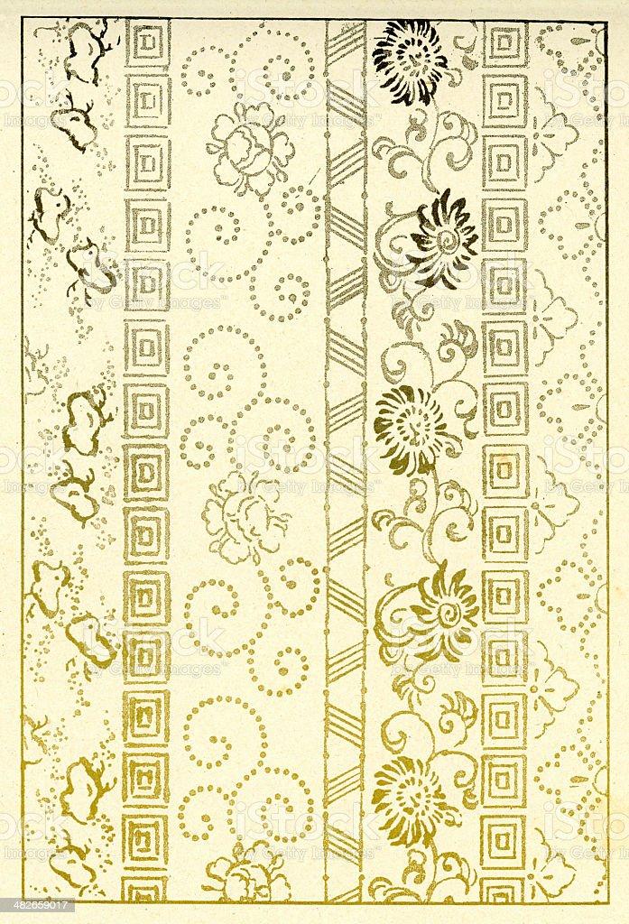 Japanese flower pattern vector art illustration
