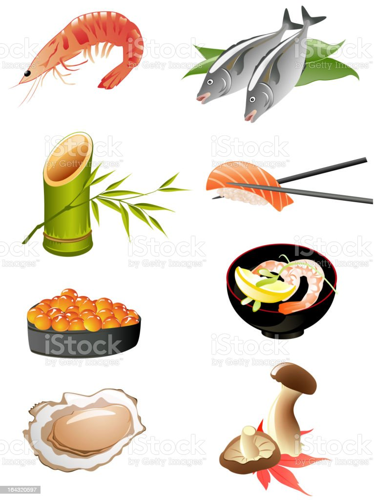 japanese food icons royalty-free stock vector art