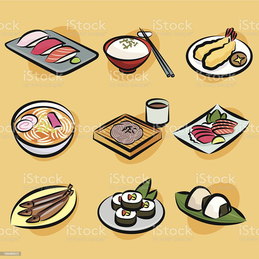japanese foods vector art illustration