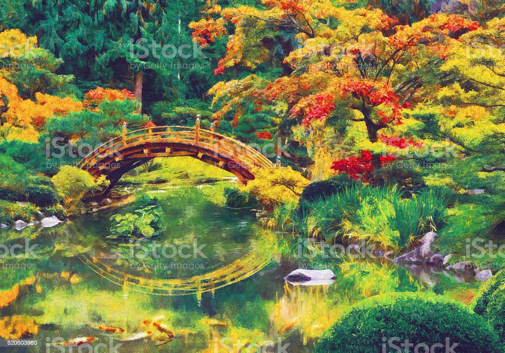 drawing activity meadow ornamental garden painted image painting japanese garden with bridge