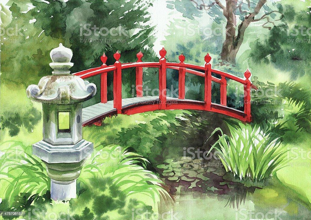 Red Japanese Garden Bridge japanese garden with red bridge stock vector art 475706157 | istock
