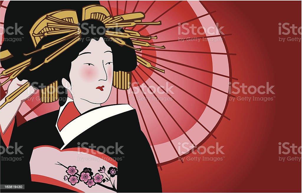 japanese geisha vector art illustration