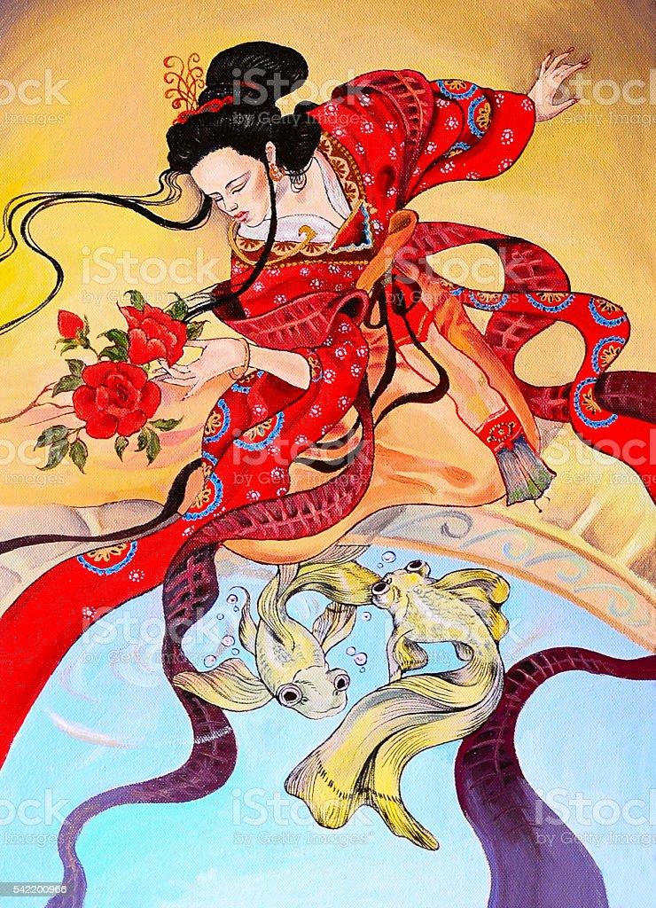 japanese geisha woman in red kimono, art oil painting vector art illustration