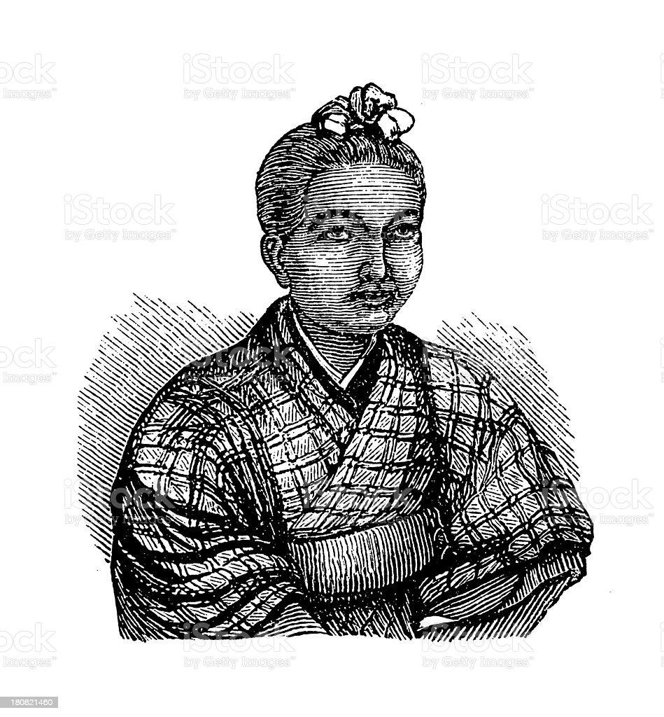 Japanese girl (antique wood engraving) royalty-free stock vector art