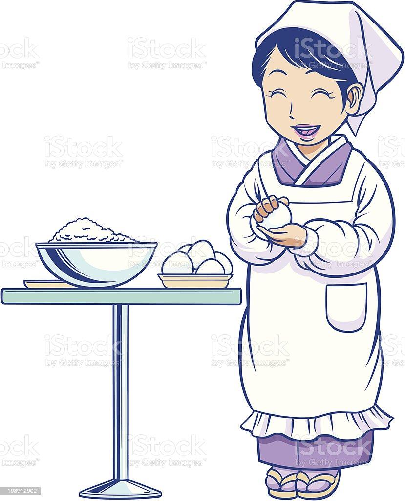 Japanese housekeeper vector art illustration