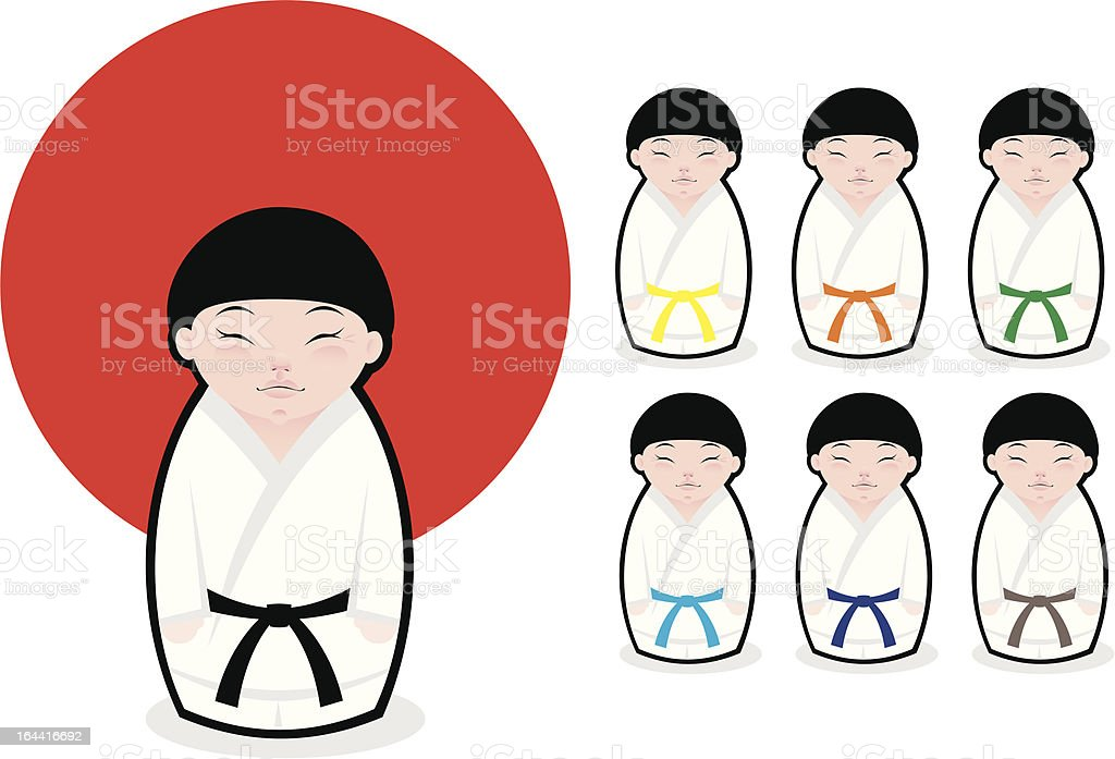 Japanese karate kokeshi boys royalty-free stock vector art