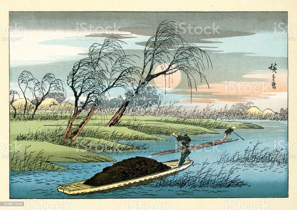 Japanese Landscape by Hiroshige vector art illustration