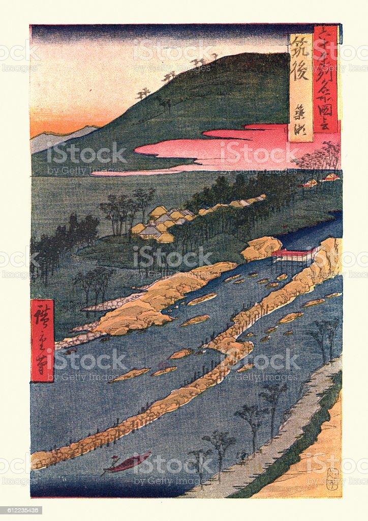 Japanese Landscape by Hiroshige vector art illustration
