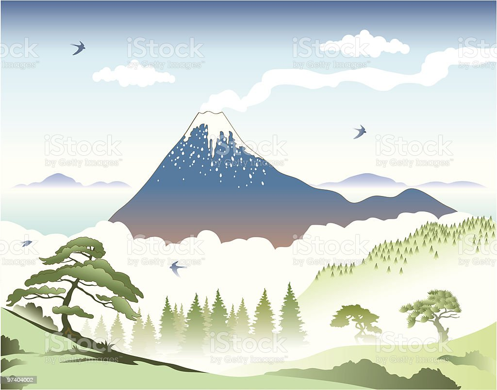 Japanese landscape vector art illustration