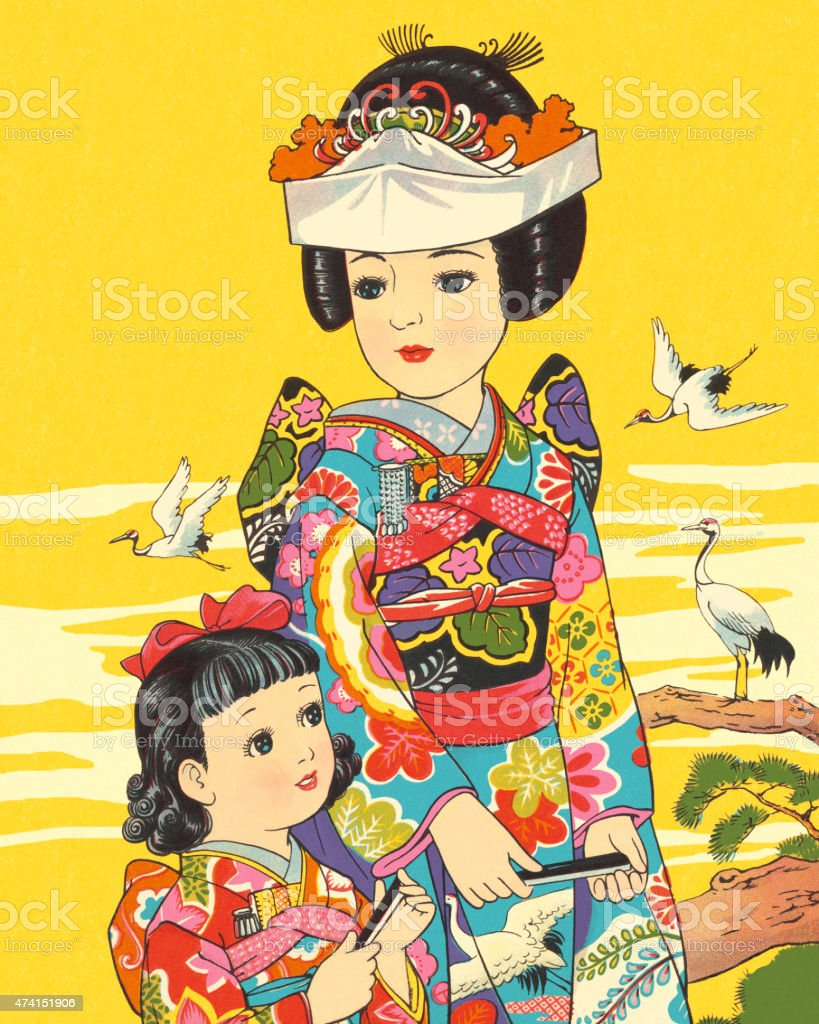 Japanese Mother and Daughter in Costume vector art illustration