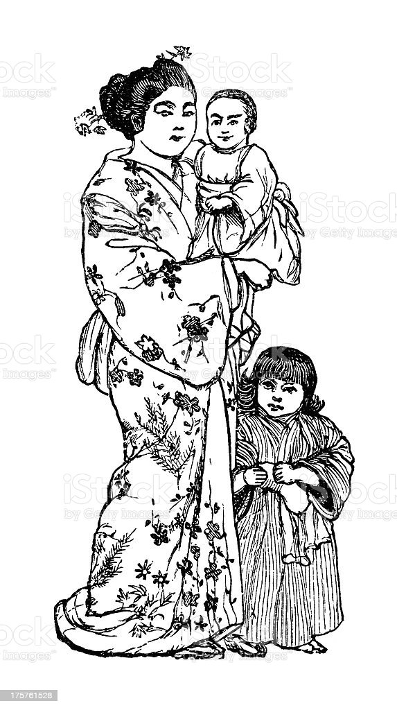 Japanese mother with two children - Victorian engraving royalty-free stock vector art