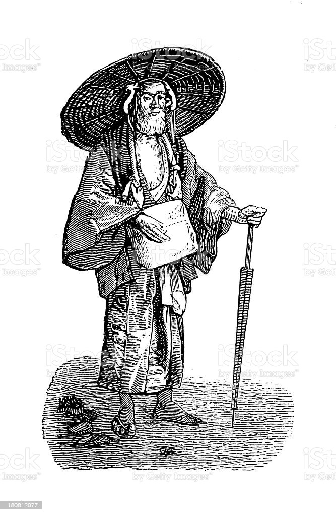 Japanese pilgrim (antique wood engraving) vector art illustration