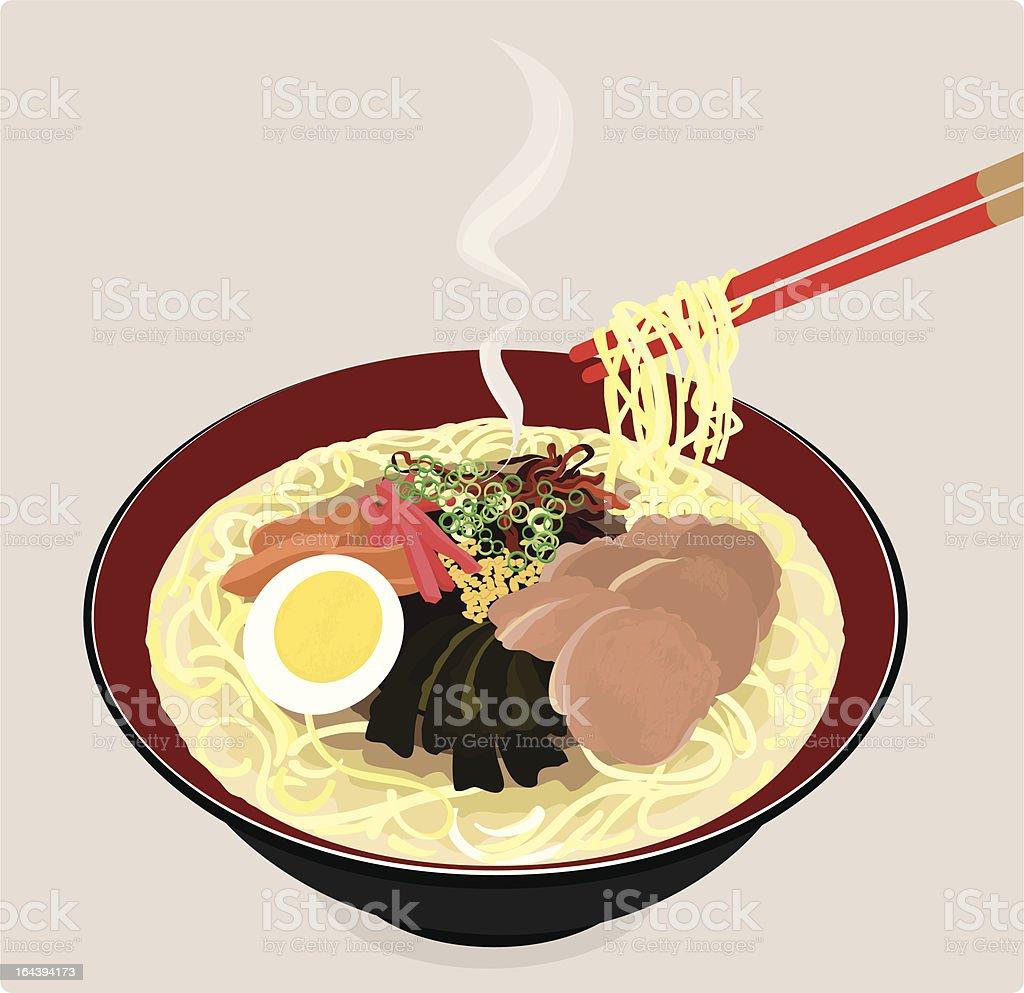 Japanese ramen noodles. vector art illustration
