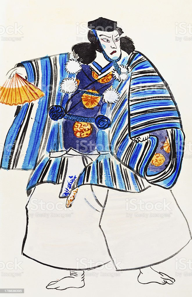 Japanese Samurai man in traditional clothes royalty-free stock vector art