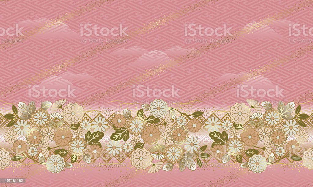 Japanese style, Pattern of the flower, Seamless pattern. vector art illustration