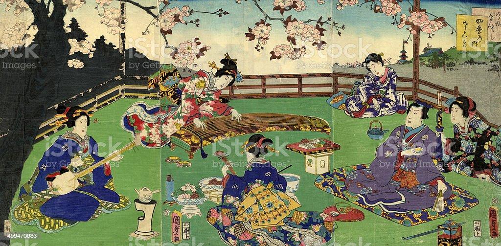 Japanese Triptych Woodblock Cherry Blossom entertainment vector art illustration