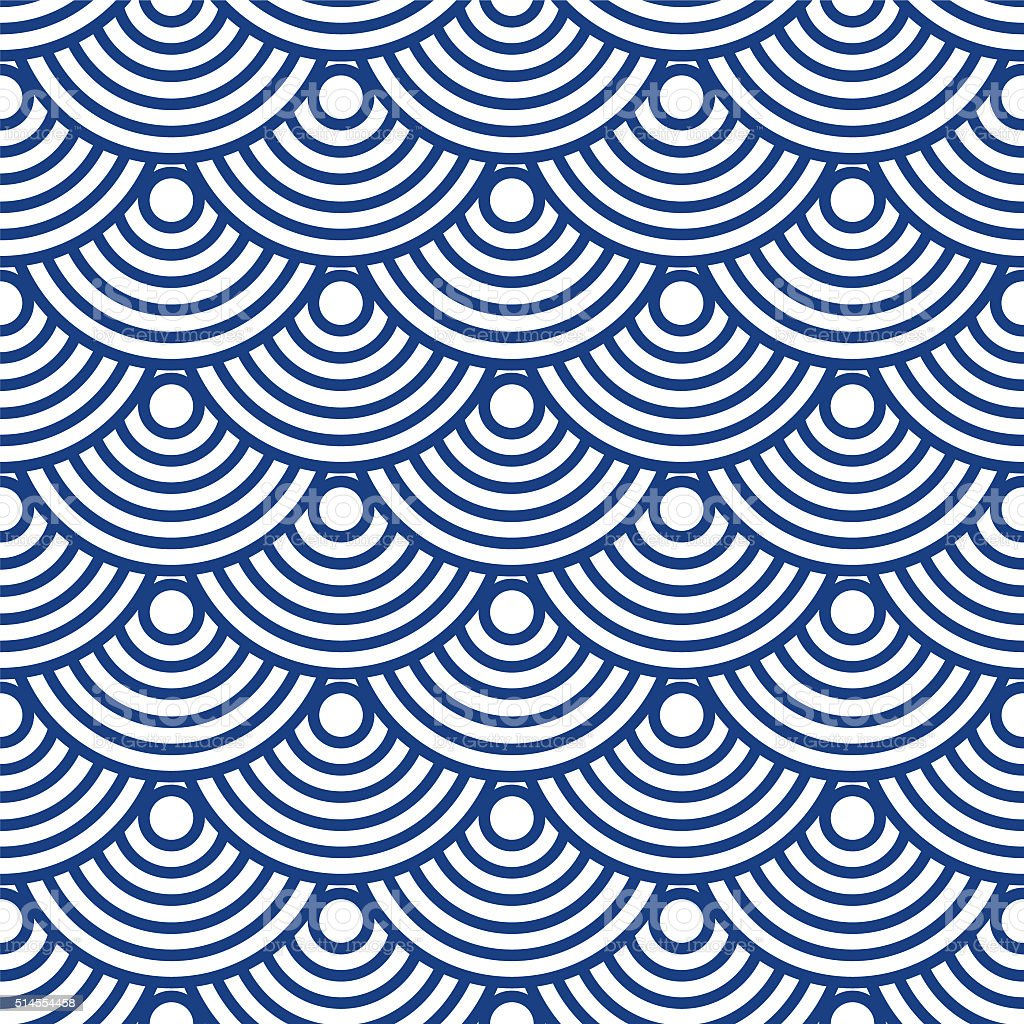 Japanese wave pattern vector art illustration