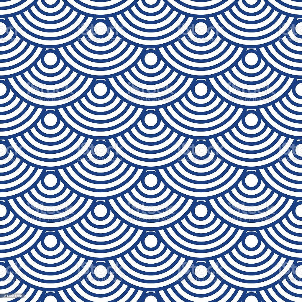 Japanese wave pattern vector art illustration