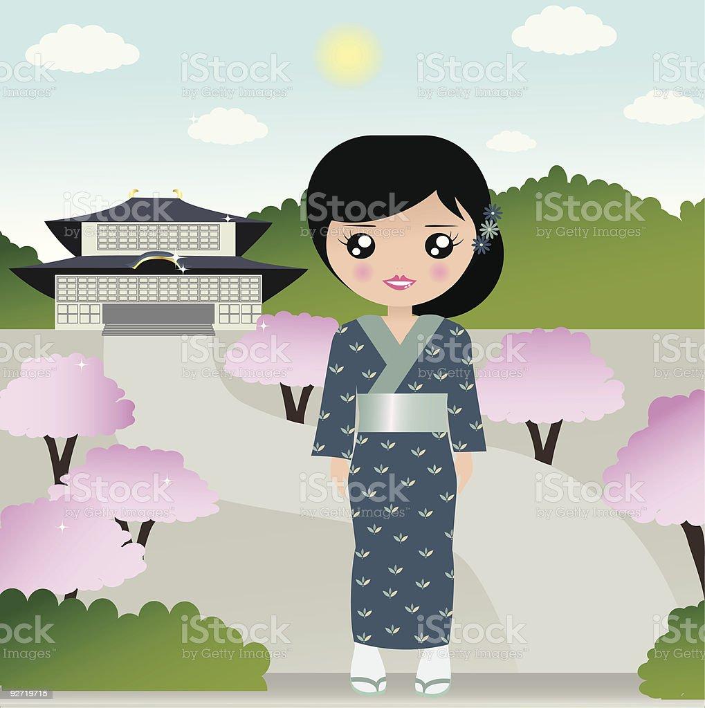 Mujer en un templo japonés illustracion libre de derechos libre de derechos