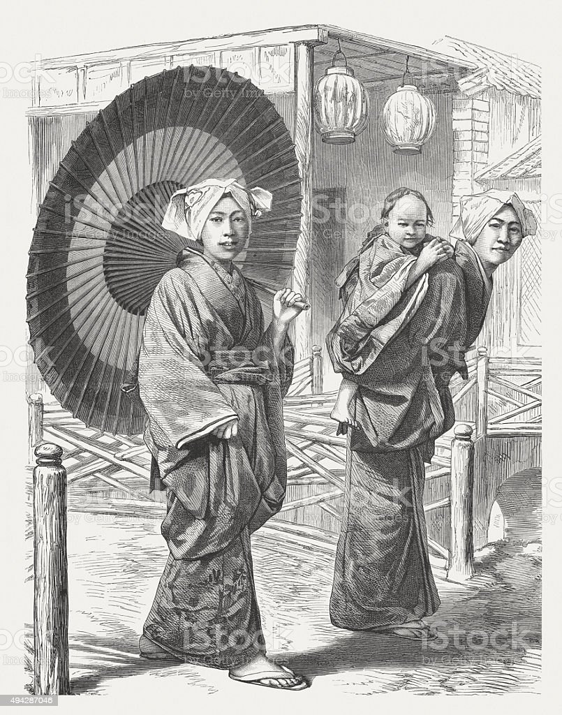 Japanese women in 19th century, published in 1871 vector art illustration
