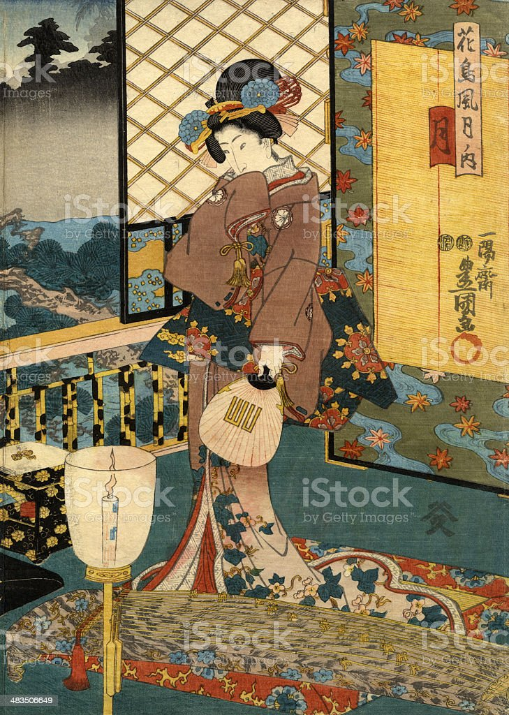Japanese Woodblock of Beautiful Moon Woman vector art illustration