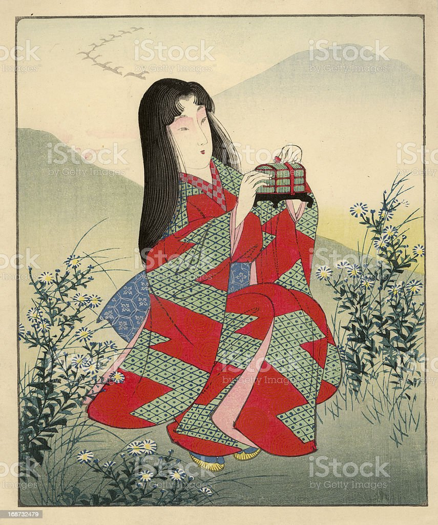 Japanese Woodblock of female in landscape vector art illustration