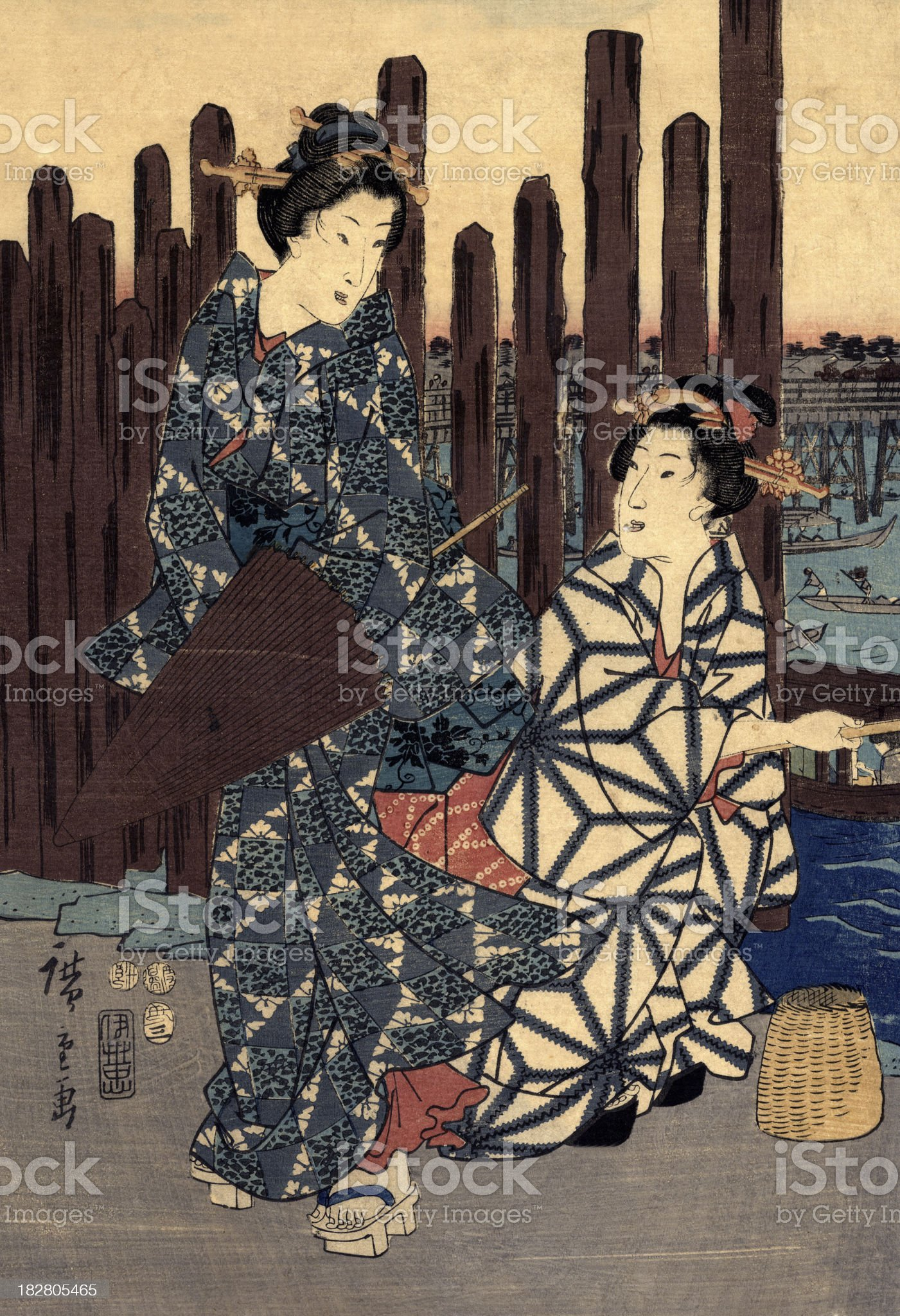 Japanese Woodblock of two females royalty-free stock vector art
