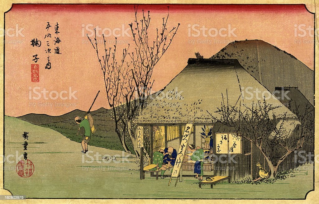 Japanese Woodblock Print by Hiroshige vector art illustration