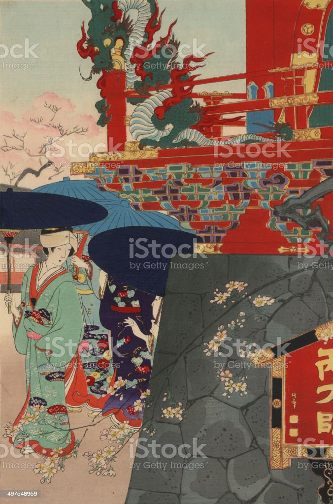 Japanese Woodblock Print flowers and Dragon vector art illustration