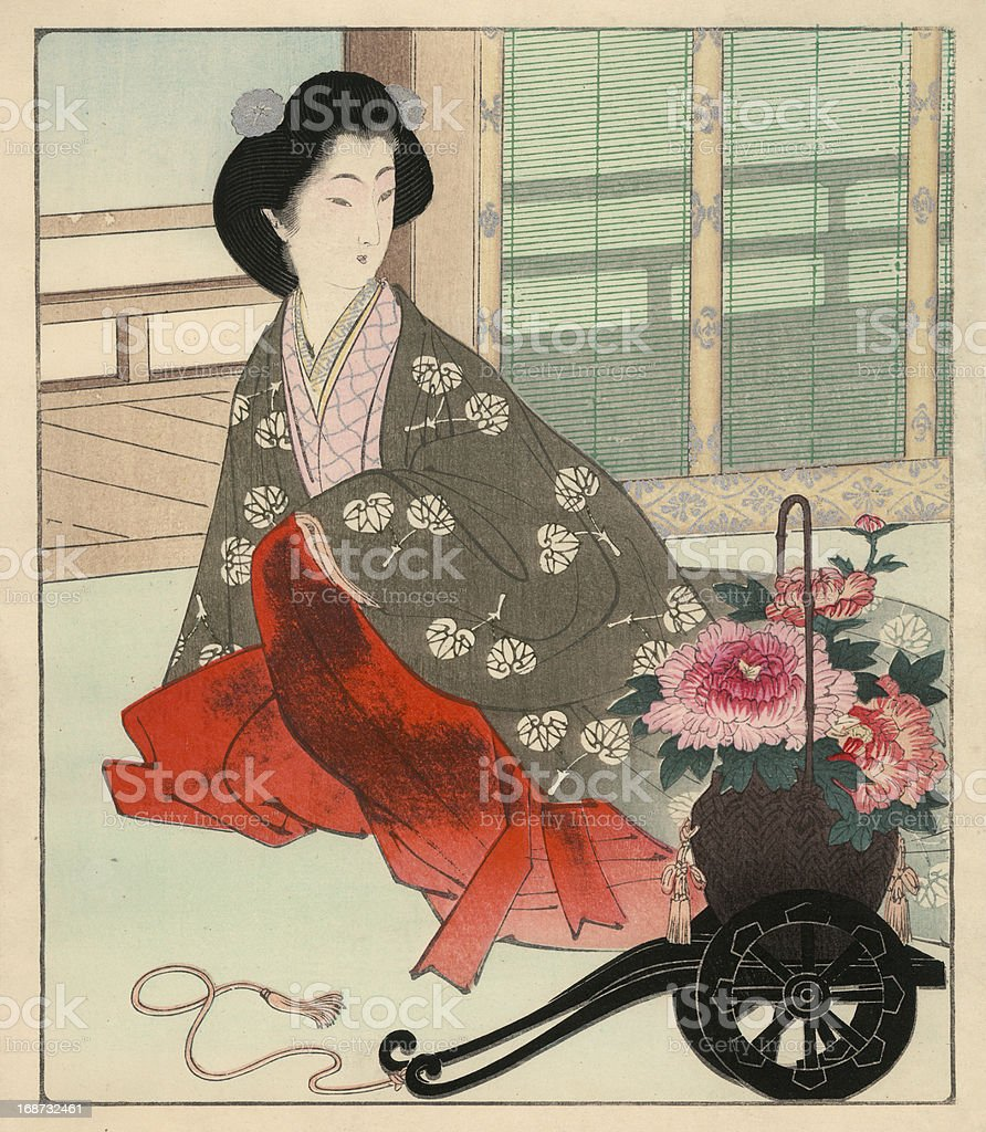 Japanese Woodblock Print, Interior Scene vector art illustration