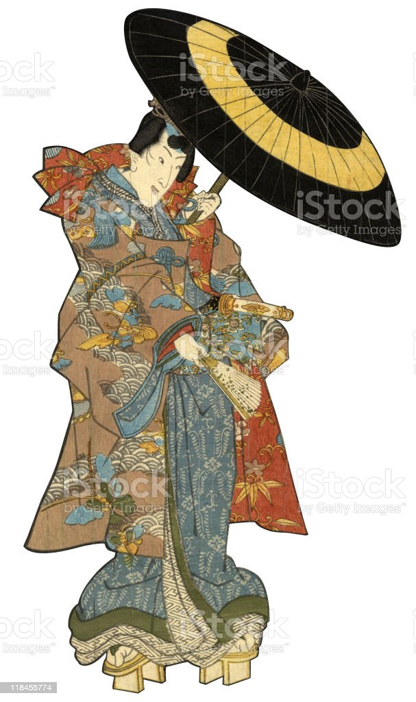 Japanese Woodblock Print Male with Umbrella vector art illustration
