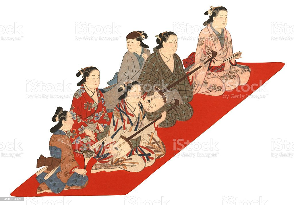 Japanese woodblock print of Musicians and Dancers royalty-free stock vector art