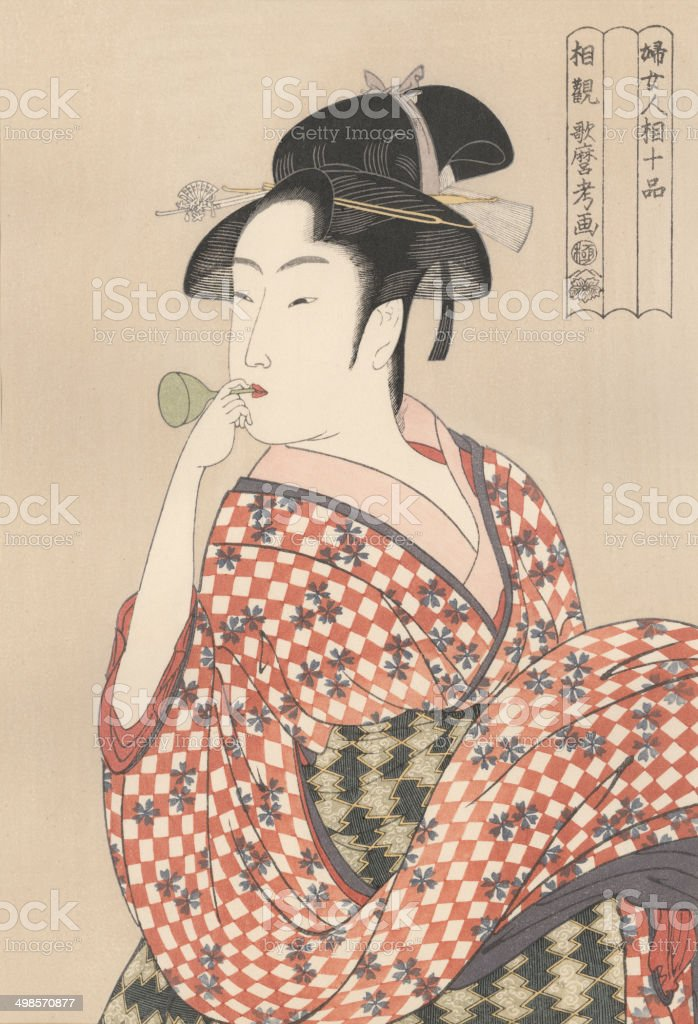 Japanese woodblock print of young woman 1790 vector art illustration