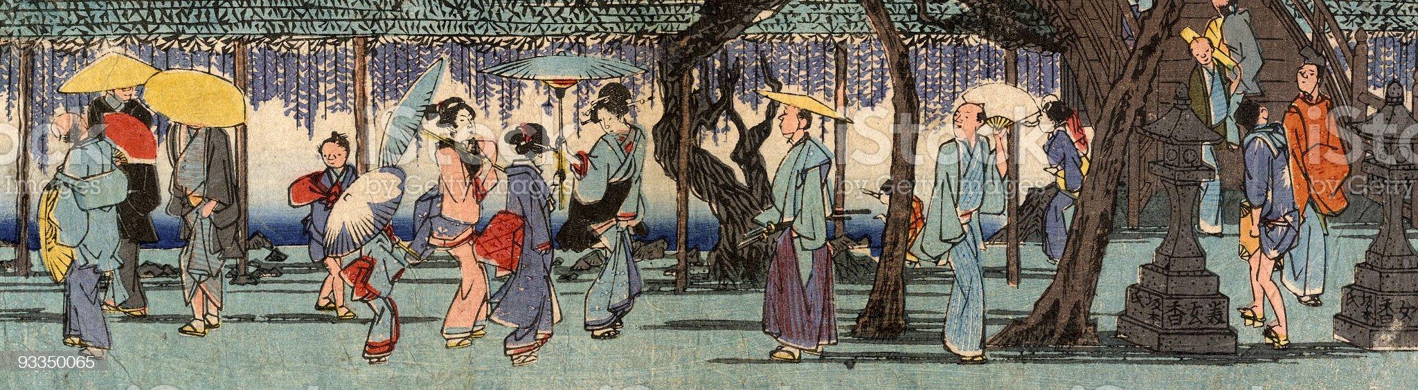 Japanese Woodblock Street Scene by Hiroshige royalty-free stock vector art