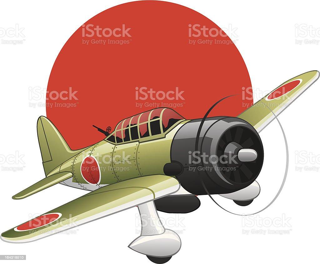 Japanese WW2 bomber plane royalty-free stock vector art