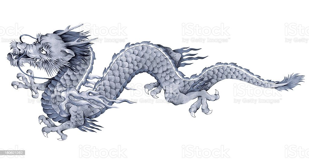 Japanesque dragon vector art illustration