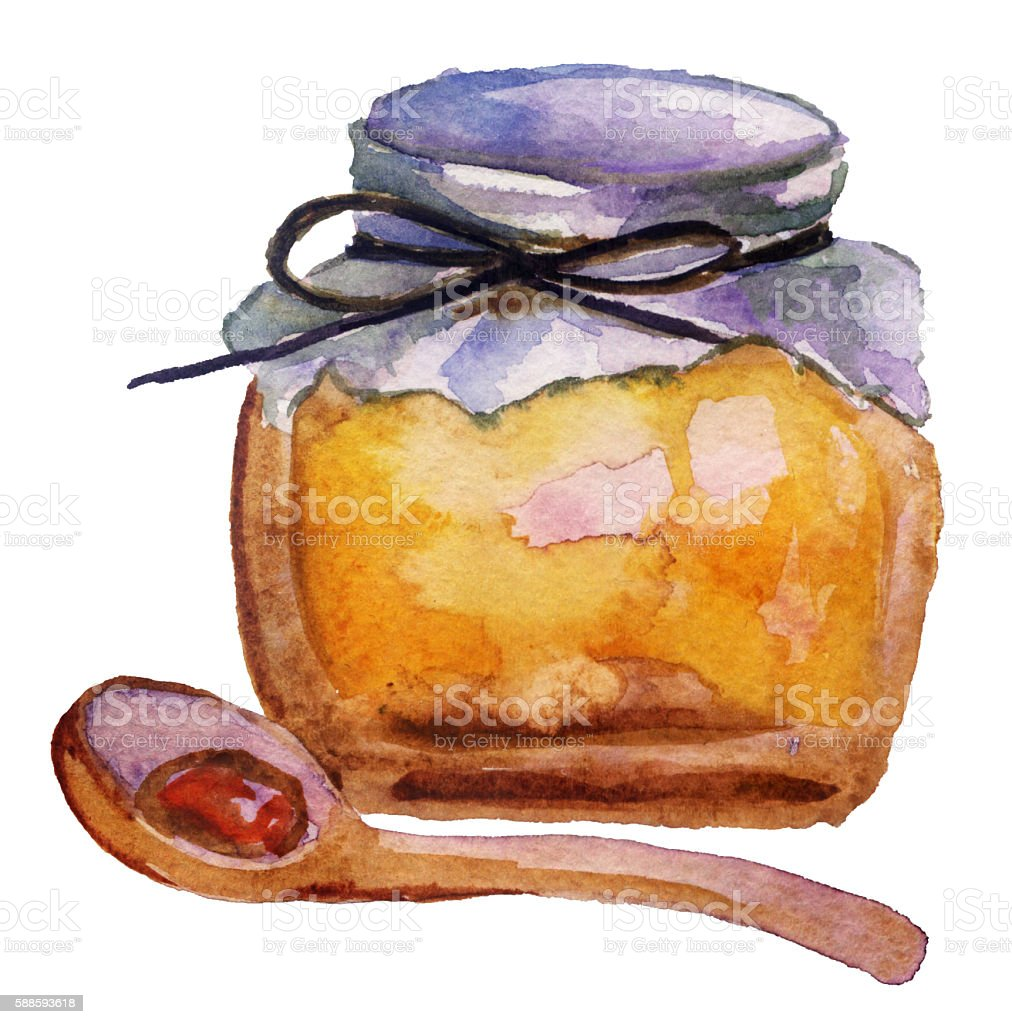Jar with honey on white background vector art illustration