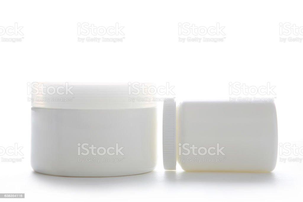 Jar with white cap vector art illustration