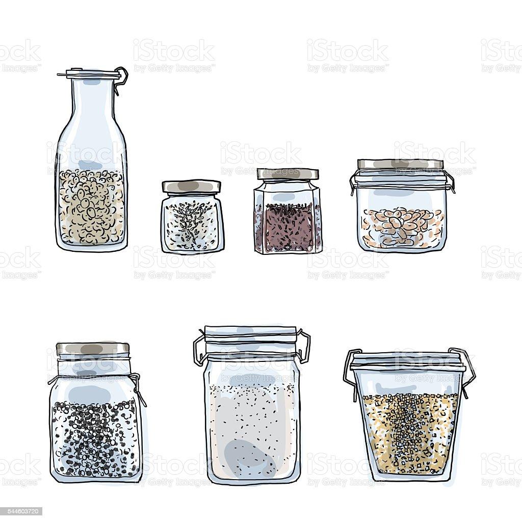 Jars, bottles of spices hand drawn art cute illustration vector art illustration