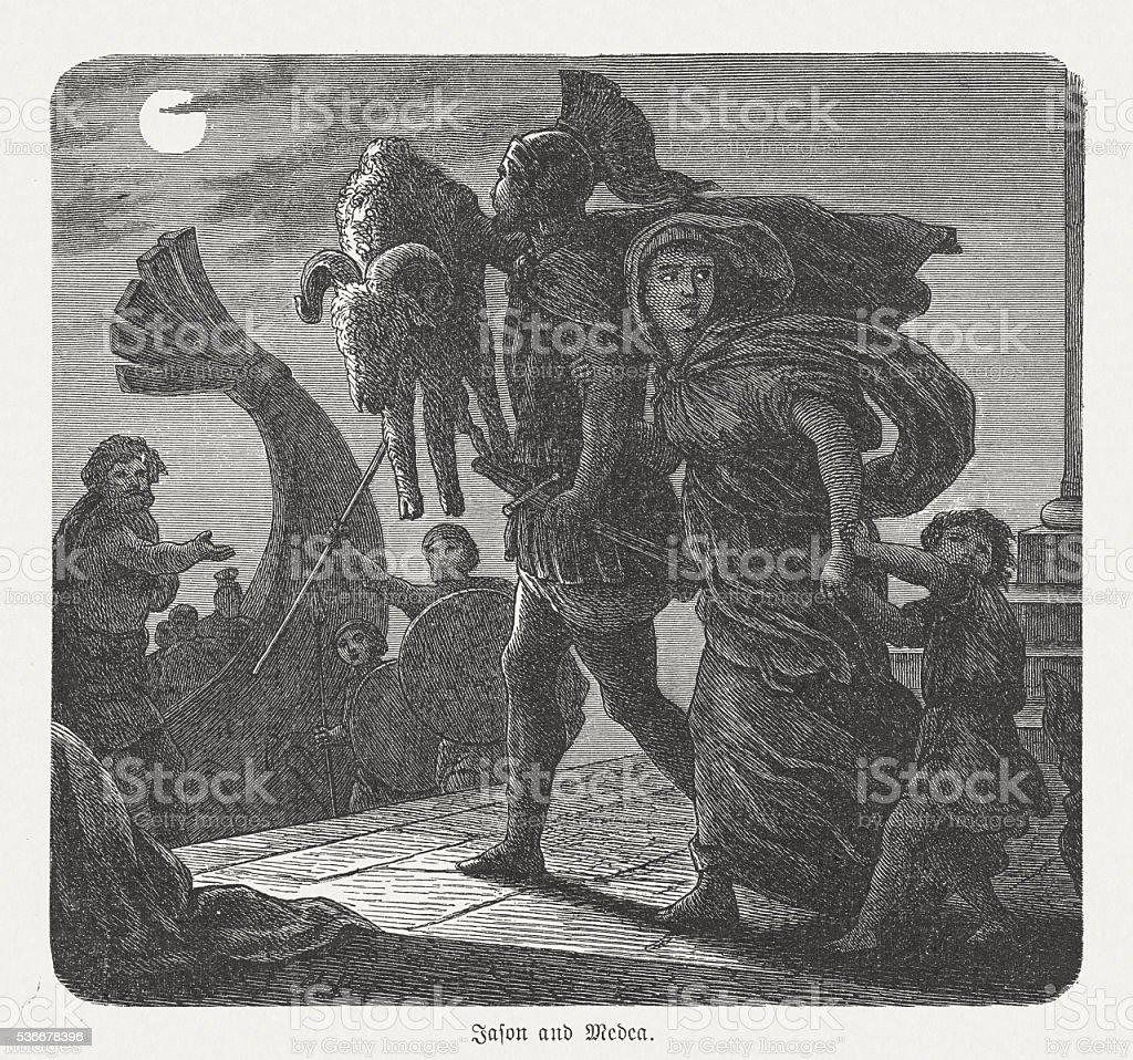 Jason and Medea's flight, Greek mythology, wood engraving, published 1880 vector art illustration