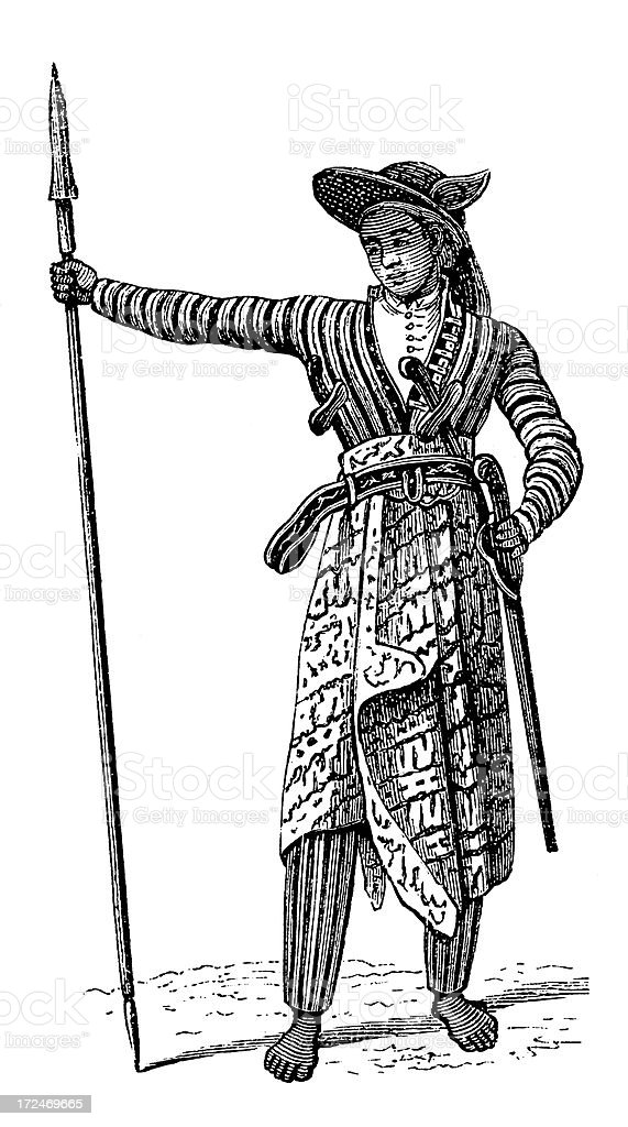 Javanese man in military uniform (antique wood engraving) royalty-free stock vector art