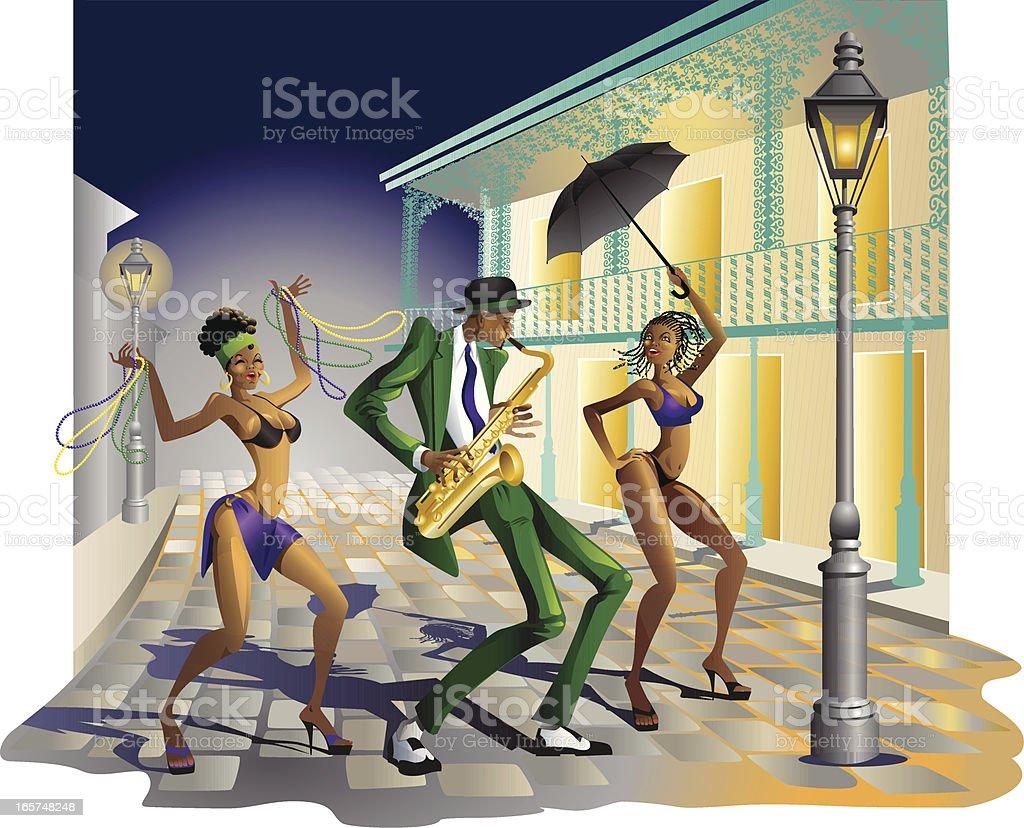 Jazz in New Orleans vector art illustration