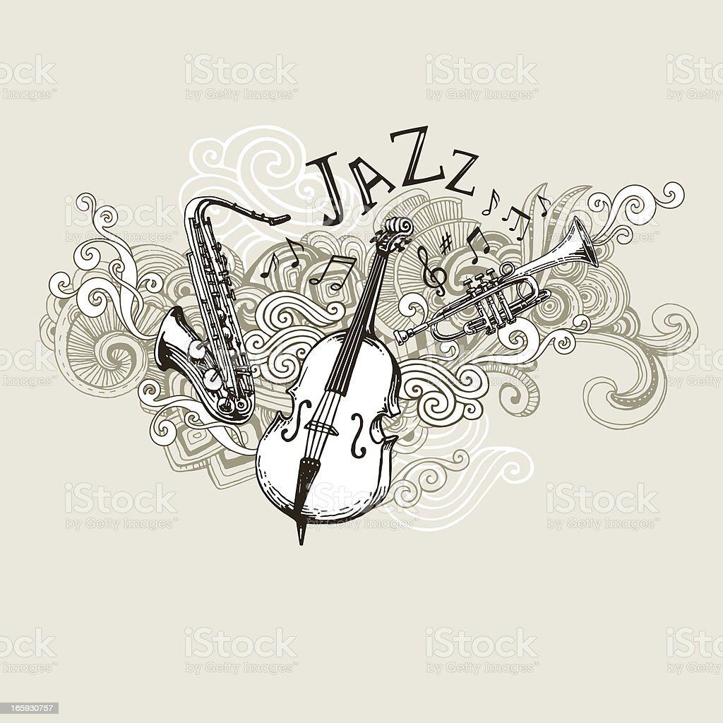 Jazz Instruments Drawing vector art illustration