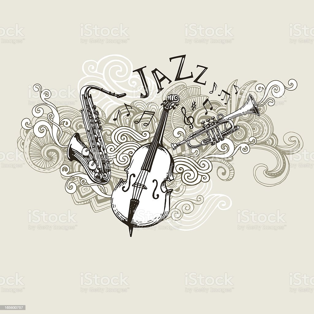 Jazz Instruments Drawing vector art illustration
